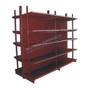 DC-19 wood grain supermarket shelf with four posts